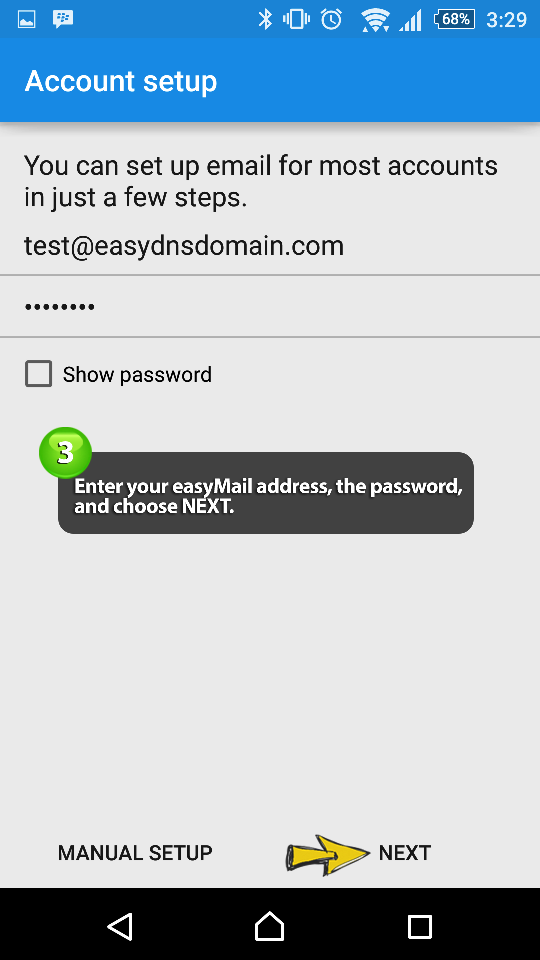 how to set easyMail on android