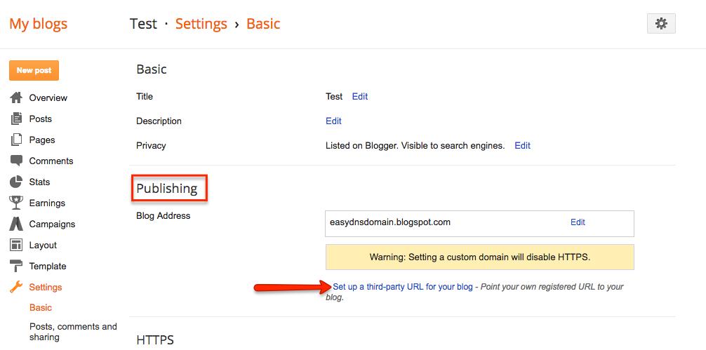 connecting blog blogger blogspot to easydns domain