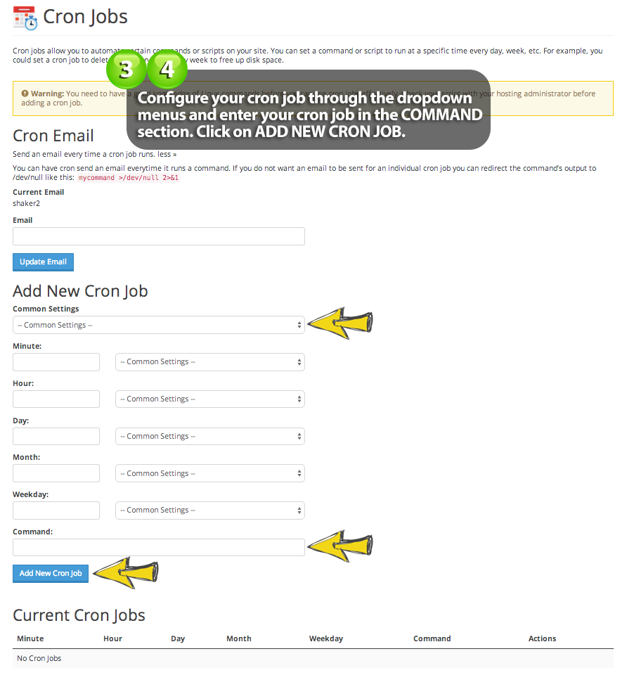 how to input a cron job on easy web at easyDNS