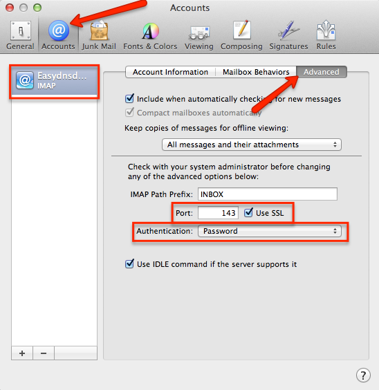 how to setup easyMail on Mac