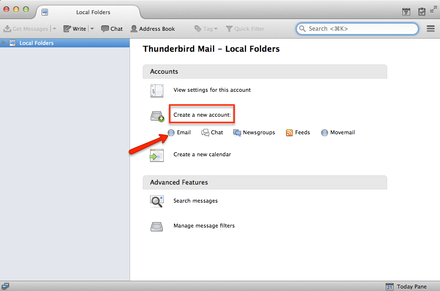 setting up easyMail account with Thunderbird email client